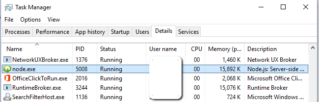 Node.exe is now visible in the Task Manager