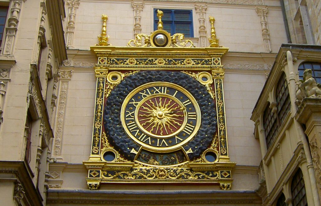 The Big Clock of Rouen, France. The numbers are expressed as Roman Numerals.